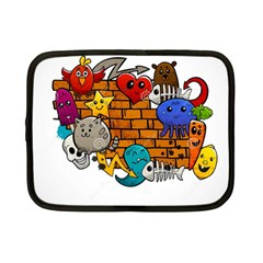 Graffiti Characters Flat Color Concept Cartoon Animals Fruit Abstract Around Brick Wall Vector Illus Netbook Case (small)