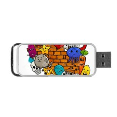 Graffiti Characters Flat Color Concept Cartoon Animals Fruit Abstract Around Brick Wall Vector Illus Portable Usb Flash (two Sides)