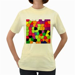 Stained Glass Abstract Background Women s Yellow T-Shirt