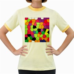 Stained Glass Abstract Background Women s Fitted Ringer T-Shirts