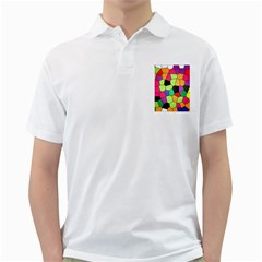 Stained Glass Abstract Background Golf Shirts