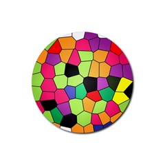 Stained Glass Abstract Background Rubber Coaster (Round)