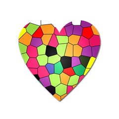 Stained Glass Abstract Background Heart Magnet