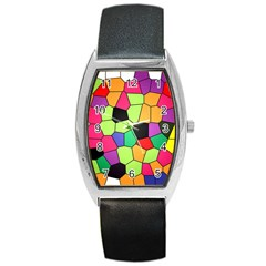 Stained Glass Abstract Background Barrel Style Metal Watch