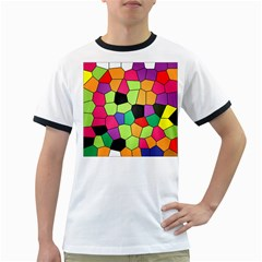 Stained Glass Abstract Background Ringer T-Shirts