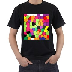 Stained Glass Abstract Background Men s T-Shirt (Black) (Two Sided)