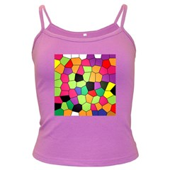 Stained Glass Abstract Background Dark Spaghetti Tank