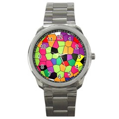 Stained Glass Abstract Background Sport Metal Watch