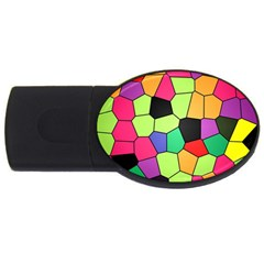 Stained Glass Abstract Background USB Flash Drive Oval (4 GB)
