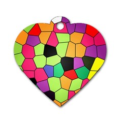 Stained Glass Abstract Background Dog Tag Heart (Two Sides)