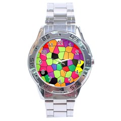 Stained Glass Abstract Background Stainless Steel Analogue Watch
