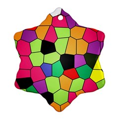 Stained Glass Abstract Background Ornament (Snowflake)