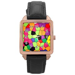 Stained Glass Abstract Background Rose Gold Leather Watch