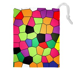 Stained Glass Abstract Background Drawstring Pouches (XXL)