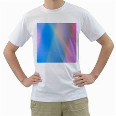 Twist Blue Pink Mauve Background Men s T-Shirt (White) (Two Sided)