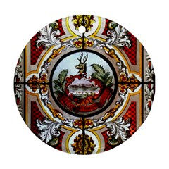 Stained Glass Skylight In The Cedar Creek Room In The Vermont State House Ornament (Round)