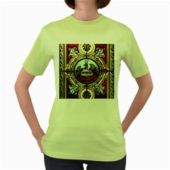 Stained Glass Skylight In The Cedar Creek Room In The Vermont State House Women s Green T-Shirt