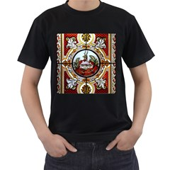 Stained Glass Skylight In The Cedar Creek Room In The Vermont State House Men s T-Shirt (Black) (Two Sided)