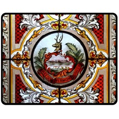 Stained Glass Skylight In The Cedar Creek Room In The Vermont State House Fleece Blanket (Medium)