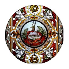 Stained Glass Skylight In The Cedar Creek Room In The Vermont State House Round Filigree Ornament (Two Sides)
