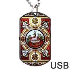 Stained Glass Skylight In The Cedar Creek Room In The Vermont State House Dog Tag USB Flash (Two Sides)