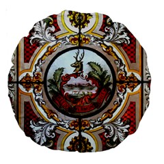 Stained Glass Skylight In The Cedar Creek Room In The Vermont State House Large 18  Premium Round Cushions