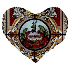 Stained Glass Skylight In The Cedar Creek Room In The Vermont State House Large 19  Premium Heart Shape Cushions