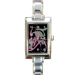 Violet Calligraphic Art Rectangle Italian Charm Watch