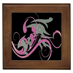 Violet Calligraphic Art Framed Tiles