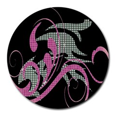 Violet Calligraphic Art Round Mousepads
