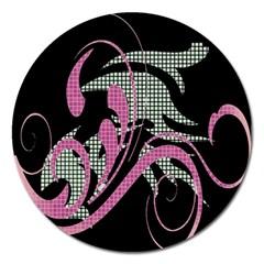 Violet Calligraphic Art Magnet 5  (Round)