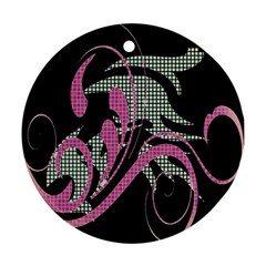 Violet Calligraphic Art Round Ornament (Two Sides)