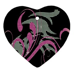 Violet Calligraphic Art Heart Ornament (Two Sides)