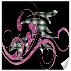 Violet Calligraphic Art Canvas 12  x 12