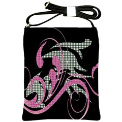 Violet Calligraphic Art Shoulder Sling Bags