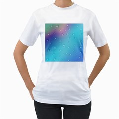 Water Droplets Women s T-Shirt (White) (Two Sided)