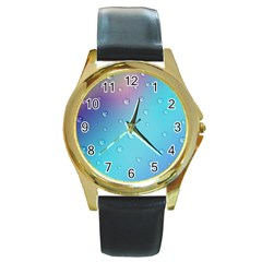 Water Droplets Round Gold Metal Watch