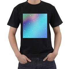 Water Droplets Men s T-Shirt (Black) (Two Sided)