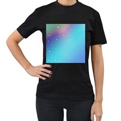 Water Droplets Women s T-Shirt (Black) (Two Sided)