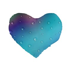 Water Droplets Standard 16  Premium Heart Shape Cushions