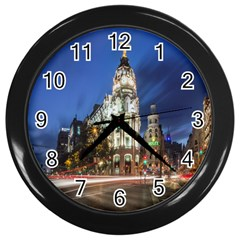 Architecture Building Exterior Buildings City Wall Clocks (Black)