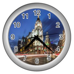 Architecture Building Exterior Buildings City Wall Clocks (Silver)
