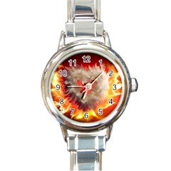 Arts Fire Valentines Day Heart Love Flames Heart Round Italian Charm Watch