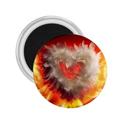 Arts Fire Valentines Day Heart Love Flames Heart 2.25  Magnets
