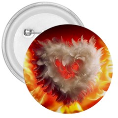 Arts Fire Valentines Day Heart Love Flames Heart 3  Buttons