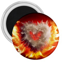 Arts Fire Valentines Day Heart Love Flames Heart 3  Magnets