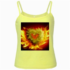 Arts Fire Valentines Day Heart Love Flames Heart Yellow Spaghetti Tank