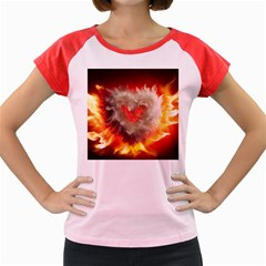 Arts Fire Valentines Day Heart Love Flames Heart Women s Cap Sleeve T-Shirt