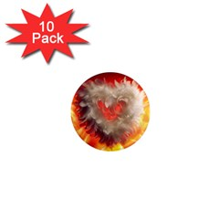 Arts Fire Valentines Day Heart Love Flames Heart 1  Mini Magnet (10 pack)