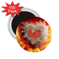 Arts Fire Valentines Day Heart Love Flames Heart 2.25  Magnets (100 pack)